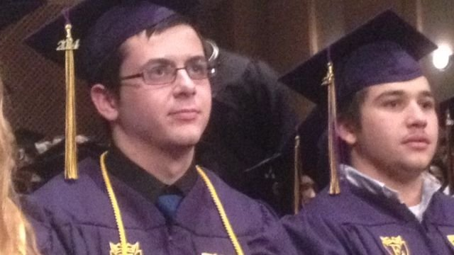 Jayme Correia (left) on his graduation day. (Jan. 16, 2014/FOX Carolina)