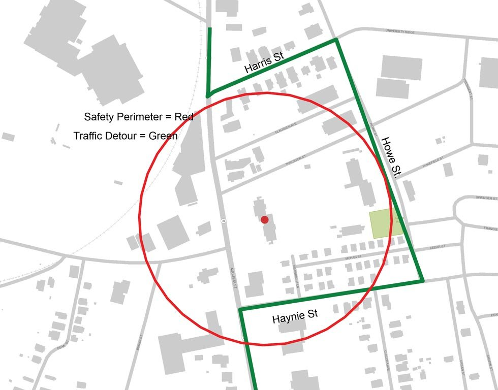 The safety perimeter that will be in place Sunday morning. (Source: City of Greenville)