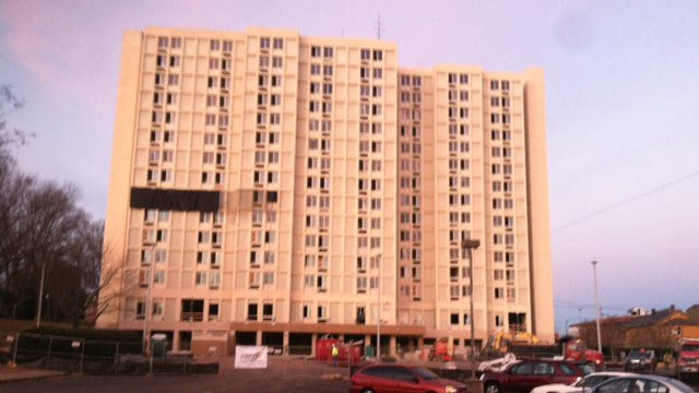 Scott Towers is readied for its implosion. (Jan. 8, 2014/FOX Carolina)