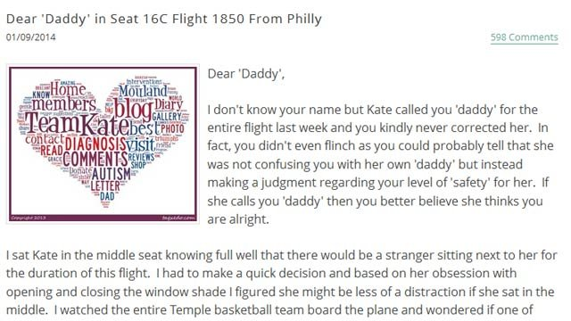 A screen grab of the open letter that has gone viral. (Source: goteamkate.com)