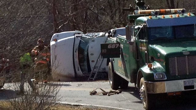 The overturned truck along Conestee Road. (Jan. 17, 2014/FOX Carolina)