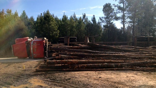 The logs spilled out of the overturned truck along Tinker Creek Road. (Jan. 17, 2014/FOX Carolina)