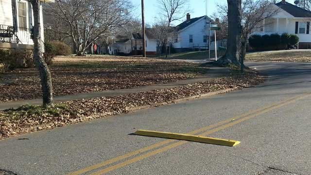 The speed bump installed in the street by concerned citizens. (Jan. 20, 2014/FOX Carolina)