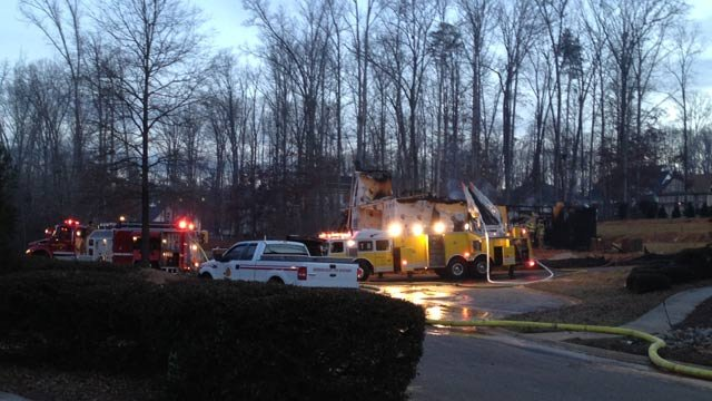 Firefighters at the scene of the destructive blaze. (Jan. 23, 2014/FOX Carolina)