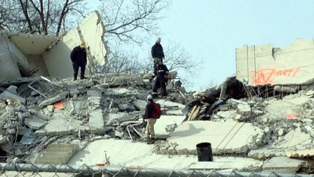 Emergency crews train amidst the rubble of Scott Towers. (Jan. 23, 2014/FOX Carolina)