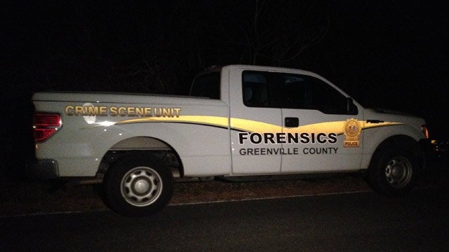 Greenville County forensics in the area where the remains were found. (Jan. 22, 2014/FOX Carolina)