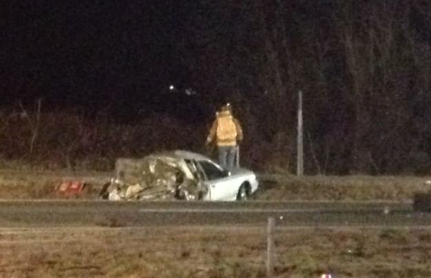 One of the cars involved in the crash along I-85 near MM 103. (Jan. 23, 2014/FOX Carolina)