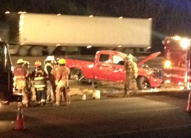 Scene of the fatal crash along I-85 near MM 103. (Jan. 23, 2014/FOX Carolina)
