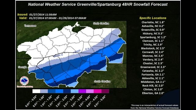 Snow Total Forecast By NWS at GSP; subject to Change. (Source: National Weather Service)