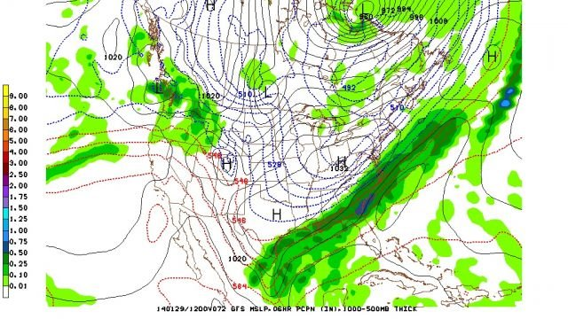 12Z GFS 1000-500mb Thickness for Wednesday Morning