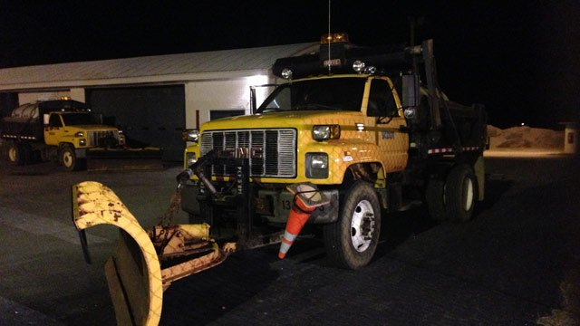 Salt trucks and snow plows are ready at the Laurens SCDOT Maintenance Center on Todd Ave Ext. (Jan. 28, 2014/FOX Carolina)