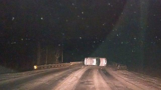 An overturned car along Madden Bridge in Central. (Jan. 29, 2014/FOX Carolina iWitness Ted. S)