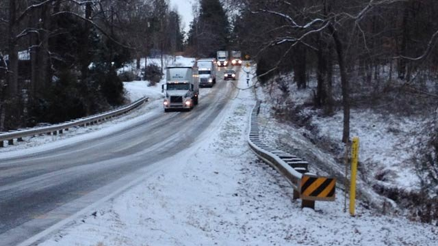 Highway 247 in Belton Wednesday morning. (Jan. 29, 2014/FOX Carolina)