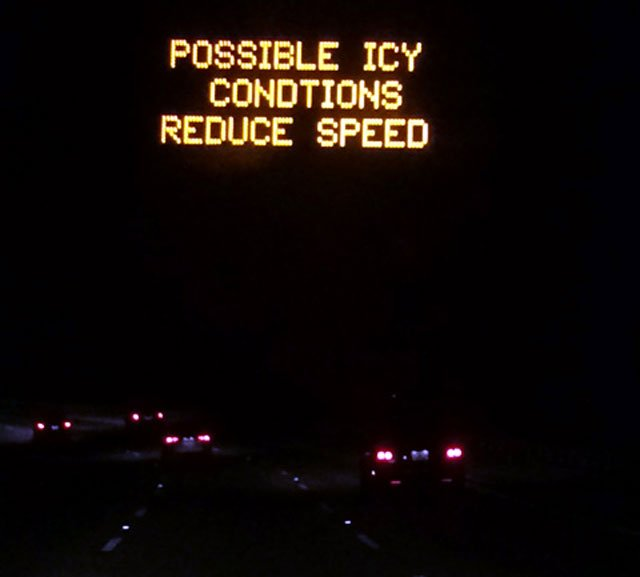 Road signs warned drivers Wednesday night of icy conditions. (Jan. 29, 2014/FOX Carolina)