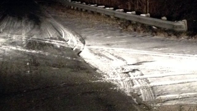 Ice remains along Beaver Dam Road under a bridge. (Jan. 30, 2014/FOX Carolina)