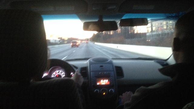 A student driver navigates potentially icy roads. (Jan. 29, 2014/FOX Carolina)