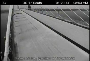 A look at the snowy Ravenel Bridge on Wednesday morning. (Source: SCDOT)
