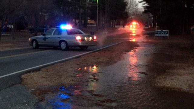 Cunningham Road is closed because of an icy water main break. (Jan. 31, 2014/FOX Carolina)