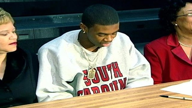 A photo of Sidney Rice from his days at Gaffney High when he signed to play at USC. (File/FOX Carolina)