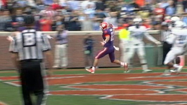 Daniel Rodriguez scores his first touchdown as a Tiger. (File/FOX Carolina)