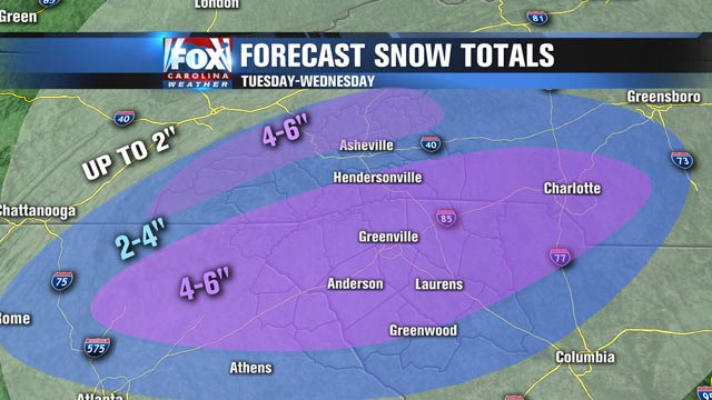 The snow total forecast as of Monday about noon.