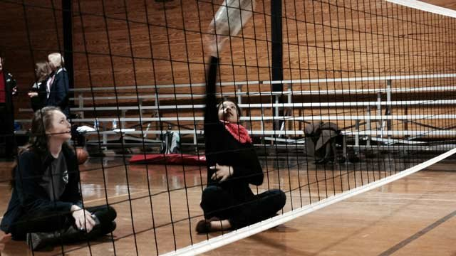 Students compete in sitting volleyball match. (Feb. 10, 2014/FOX Carolina)