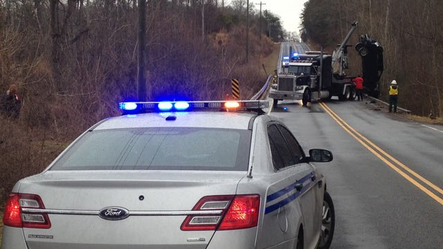 Ashmore Bridge Road is blocked across a bridge near York Swell Ln. (Feb. 10, 2014/FOX Carolina)