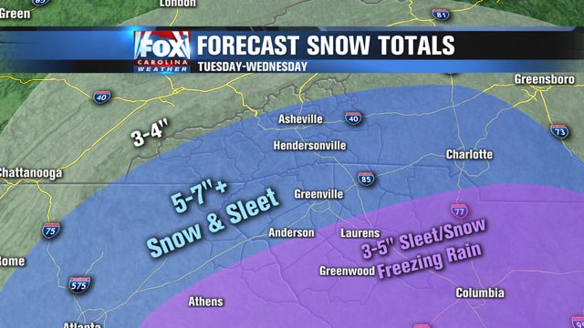 A look at potential snow totals, as of Tuesday about 5 a.m.