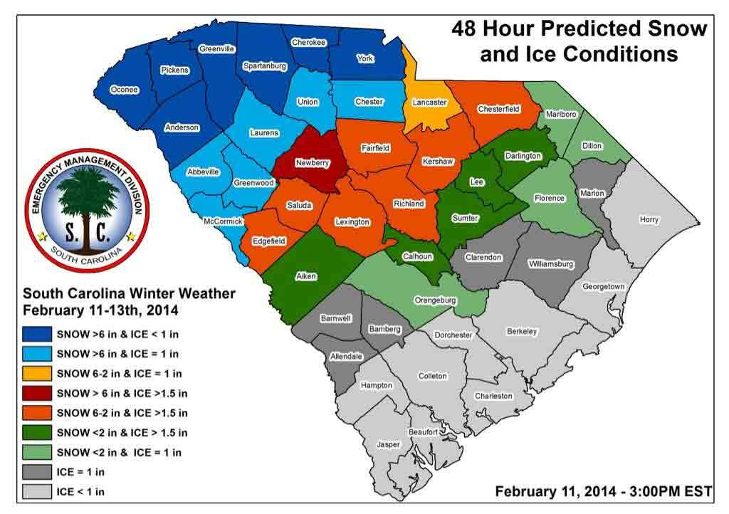 SCEMD released this map of snow predictions. (Source: SCEMD Twitter)