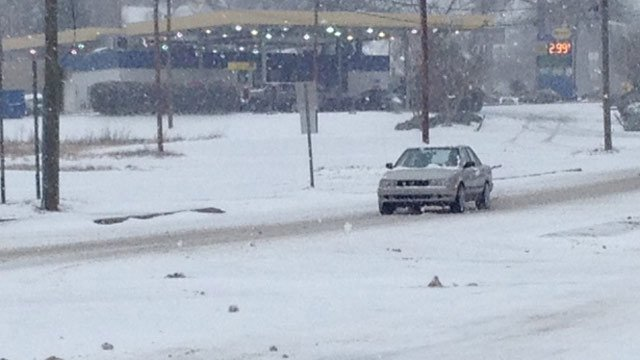 Travel on Easley Bridge Road was icy on Wednesday afternoon. (Feb. 12, 2014/FOX Carolina)