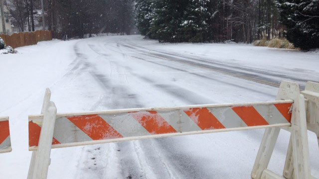 Ashmore Bridge Road was closed on Wednesday afternoon. (Feb. 12, 2014/FOX Carolina)