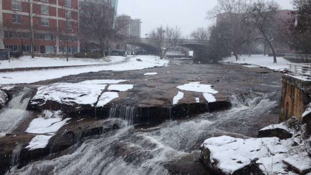 Snow on the Reedy River Falls. (Feb. 12, 2014/FOX Carolina)