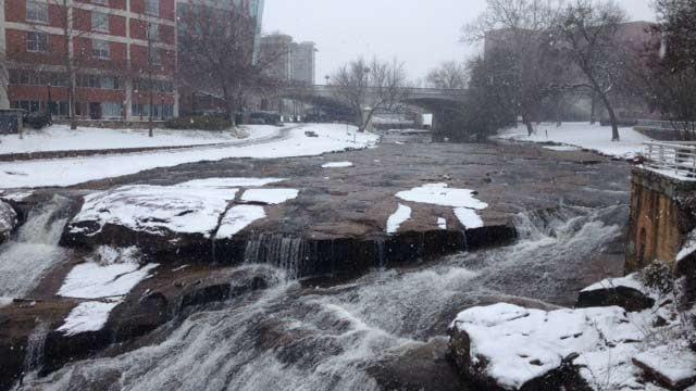 Snow on the Reedy River Falls. (Feb. 12, 2014/FOX Carolina)