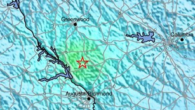 USGS Shake Map for the Feb. 14 earthquake that struck northwest of Edgefield, SC. (Source: USGS)
