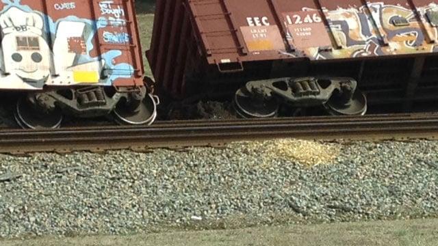 A look at the derailed cars along US 76. (Feb. 17, 2014/FOX Carolina)