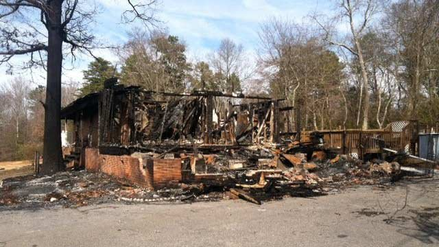 The Cothrans' home after the blaze. (Jan. 27, 2014/FOX Carolina)