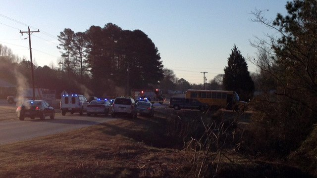 Scene of the crash involving a school bus. (Feb. 18, 2014/FOX Carolina)