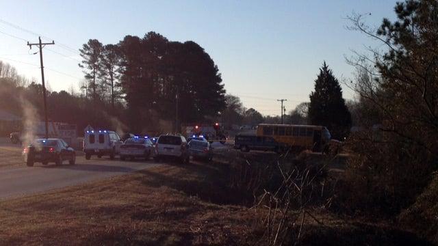 Scene of the crash involving a school bus. (Feb. 18, 2014/FOX Carolina)