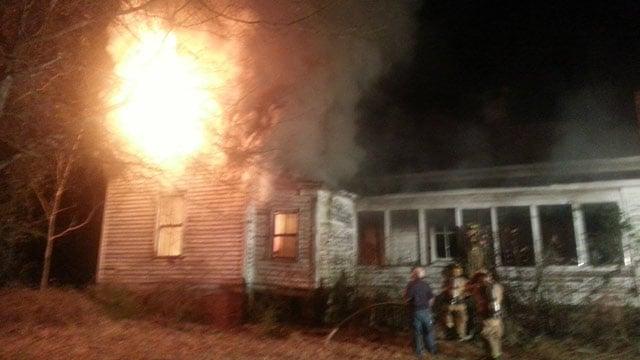 The blaze engulfed the abandoned Honea Path house. (Honea Path Fire Dept.)
