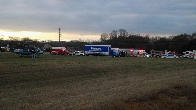 Scene of the crash along Whitehall Road in Anderson. (Feb. 19, 2014/FOX Carolina iWitness Ray F.)