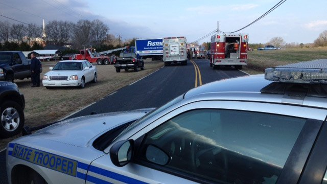 Scene of the crash along Whitehall Road in Anderson. (Feb. 19, 2014/FOX Carolina)
