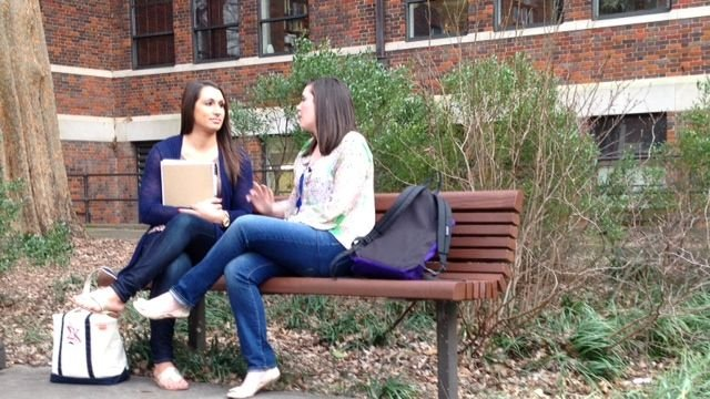 Erica (left) with a friend on campus after classes. (Feb. 19, 2014/FOX Carolina)