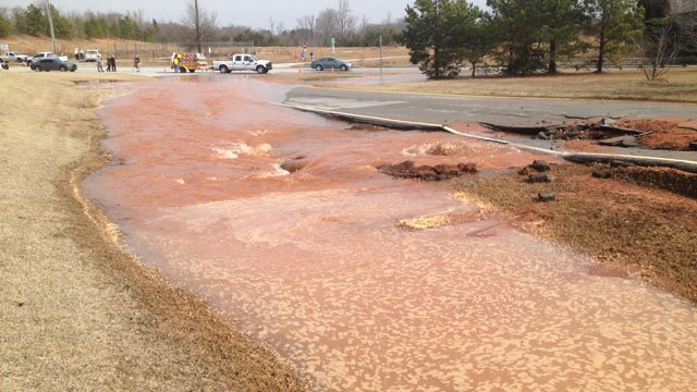 The flooded areas off of Southport Road. (Feb. 20, 2014/FOX Carolina)
