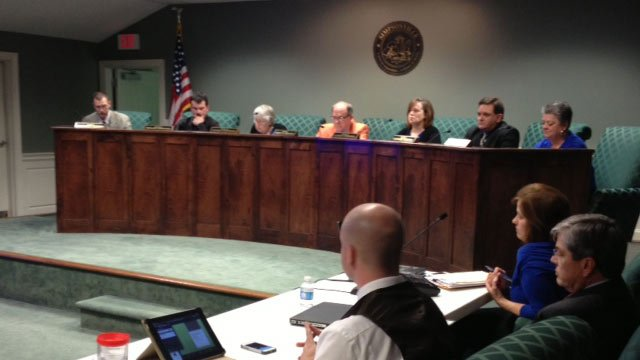 The city council meeting where Grounsell was reinstated. (Feb. 25, 2014/FOX Carolina)