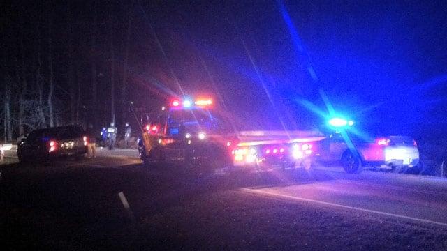 Scene of the motorcycle crash on Hammett Store Rd. (Feb. 24, 2014/FOX Carolina)