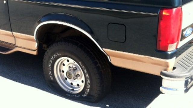 One of the flattened, slashed tires. (Feb. 24, 2015/FOX Carolina)