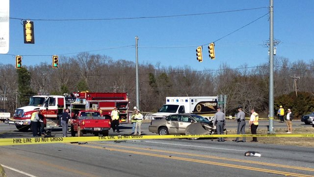 The fatal wreck blocked the intersection of SC 110 and SC 11 on Monday afternoon. (Feb. 24, 2014/FOX Carolina)