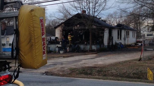 The fire-destroyed home in Anderson. (Feb. 25, 2014/FOX Carolina)