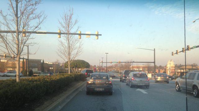 Traffic backed up along Woodruff Road. (Feb. 25, 2014/FOX Carolina)