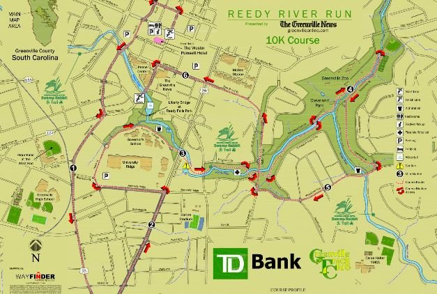 The 10K course map (Source: ReedyRiverRun.com)